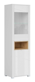 Black Red White Modesto REG1W1D LED Glass Cabinet Oak/White
