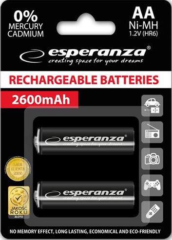 Esperanza Rechargeable Batteries 2x AA 2600mAh Black