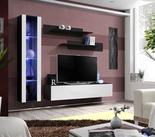 Dzīvojamās istabas mēbeļu komplekts ASM Fly G Vertical Glass Black/White Gloss