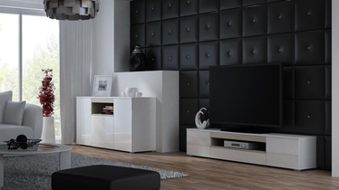 ТВ стол Cama Meble Viva 180, белый/дубовый, 1800x400x374 мм