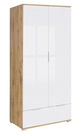 Black Red White Zele Wardrobe 90x195cm Wotan Oak/White Gloss