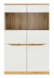 Шкаф-витрина Black Red White Nuis REG2D2W Wotan Oak/White Gloss, 90x39.5x141.5 см
