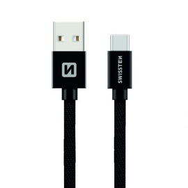 Swissten Textile USB To USB Type-C 3.1 Data And Charge Cable 0.2m Black