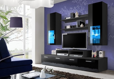ASM Mini Living Room Wall Unit Set LED Black