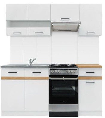 Virtuves komplekts Black Red White Junona White/Sonoma Oak, 1.7 m