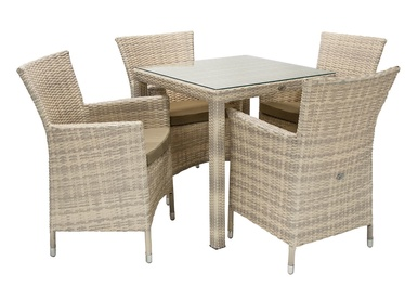 Home4you Wicker Table And 4 Chair Set Beige
