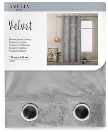 AmeliaHome Velvet Curtains Silver 140x245cm