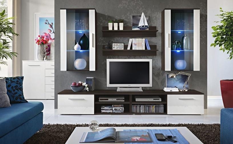 Dzīvojamās istabas mēbeļu komplekts ASM Galino G White Gloss/Wenge