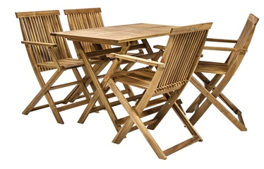 Home4you Finlay Folding Table And 4 Chairs Set Acacia