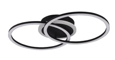 Trio Venida matēts melns griestu LED gaismeklis, 25W, 2600lm, 3000K, trīspakāpju slēdža aptumšošanas funkcija