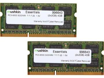 Mushkin Essentials 4GB 1066MHz CL7 DDR3 SO-DIMM Kit Of 2 996643
