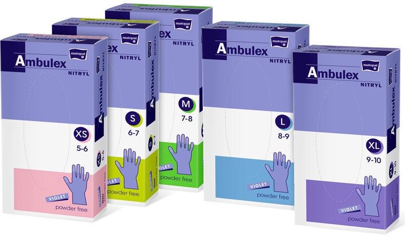 Matopat Ambulex Nitryl Powder Free Gloves M Purple