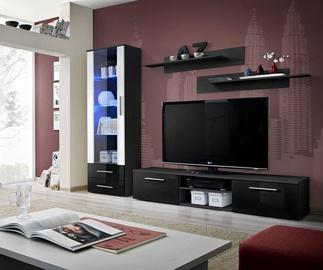 Dzīvojamās istabas mēbeļu komplekts ASM Galino A Black/Black Gloss/White Gloss