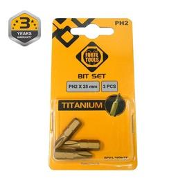 Uzgaļu komplekts Forte Tools Screwdriver Bit Set Titanium PH2 25mm 3pcs