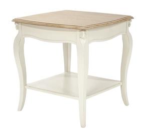 Kafijas galdiņš Home4you Elizabeth Antique White/Brown, 600x600x600 mm