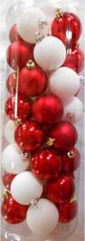 Ziemassvētku eglītes rotaļlieta Verners White/Red, 50 mm, 40 gab.