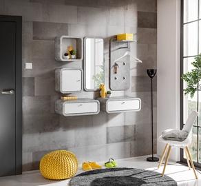 ASM Wally VI Hallway Wall Unit Set Gray/Glossy White