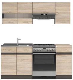 Кухонный гарнитур Black Red White Junona, коричневый/дубовый, 1.8 м