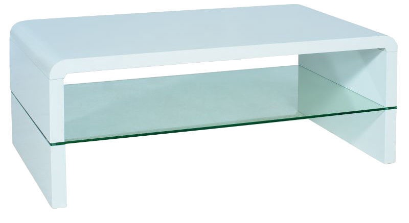 Kafijas galdiņš Signal Meble Rica Glossy White, 1100x600x450 mm
