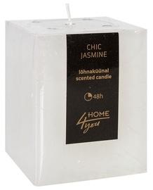 Aromātiskā svece Home4you Candle Chic Jasmine 7.5x7.5xH10cm White, 48 h