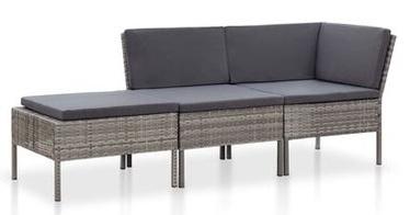 Āra mēbeļu komplekts VLX Poly Rattan Lounge Set 3 Piece, pelēks/antracīts, 3 sēdvietas