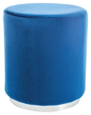 Pufs Signal Meble Furla Silver/Blue, 42x42x48 cm