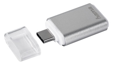Hama USB 3.1 Type C OTG To MicroSD Card Reader Silver