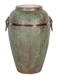 Home4you Leon Ceramic Vase 30cm Antique Green