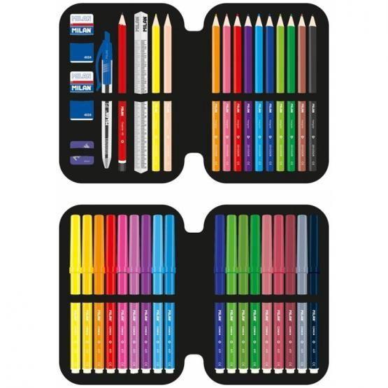 Milan Filled Double Decker Pencil Case 20 x 13.5 x 5.5cm Super Heroes Black & Orange
