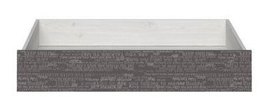 Black Red White Namur Bed Drawer Siberian Larch/Grey Print