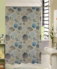 Штора для ванной Domoletti 171797H, синий/песочный, 1800 мм x 1800 мм