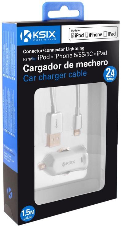 Ksix USBCar Charger + Lightning Cable White