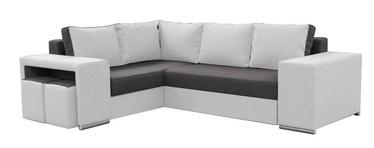 Stūra dīvāns Idzczak Meble Macho Dark Grey/White, kreisais, 275 x 215 x 85 cm