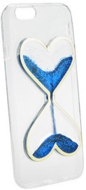 Forcell Quicksand Heart Design Back Case For Samsung Galaxy J1 J120 Transparent/Blue