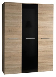 Skapis ASM Big Sonoma Oak/Black Gloss Door, 135x55x190 cm