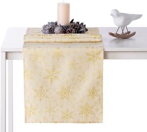 AmeliaHome White Christmas AH/HMD Tablecloth Gold 30x100cm