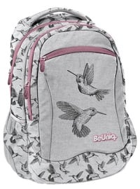 Paso BeUniq Kolibri School Backpack w/ Pencil Case & Shoe Bag Grey