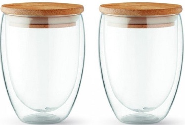 Double-Walled Glass Set With Lids L19011 350ml 2pcs