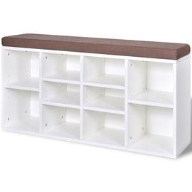 Sols VLX Shoe Storage Bench 10, brūna/balta, 1030 mm x 300 mm x 480 mm