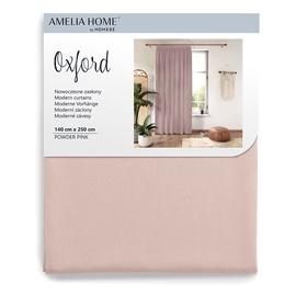 Nakts aizkari AmeliaHome Oxford Pleat, rozā, 1400x2500 mm