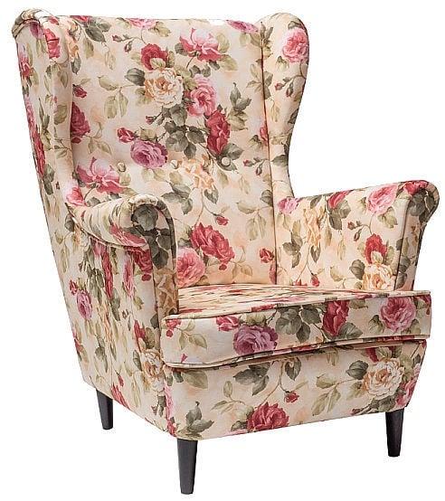 Atzveltnes krēsls Signal Meble Lord Beige/Flowers, 72x85x101 cm