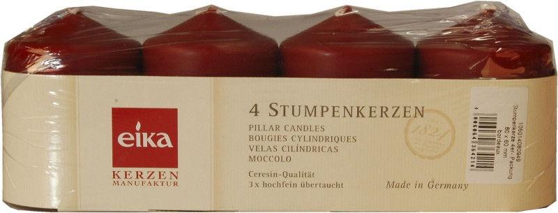 Eika Pillar Candles 8x6cm Bordo 4pcs
