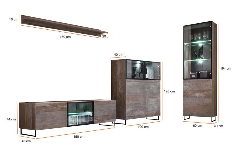ASM Plank Living Room Wall Unit Set Canyon Wood