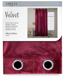 AmeliaHome Velvet Curtains Wine 140x270cm