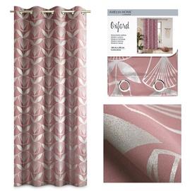 Nakts aizkari AmeliaHome Oxford Floris, rozā, 1400x2500 mm
