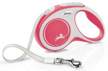 Поводок Flexi New Comfort Tape S, красный, 5 м