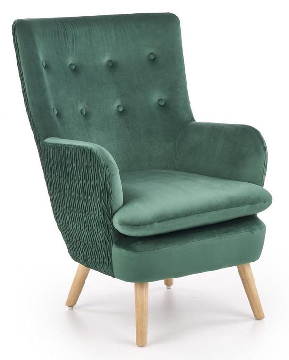 Atzveltnes krēsls Halmar Ravel Dark Green/Natural, 70x78x100 cm