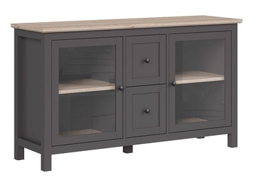 Шкаф-витрина Black Red White Bocage KOM2W2S Graphite/San Remo Oak, 156x47x90 см