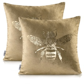 AmeliaHome Nancy Pillowcase 45x45 Bee Gold 2pcs