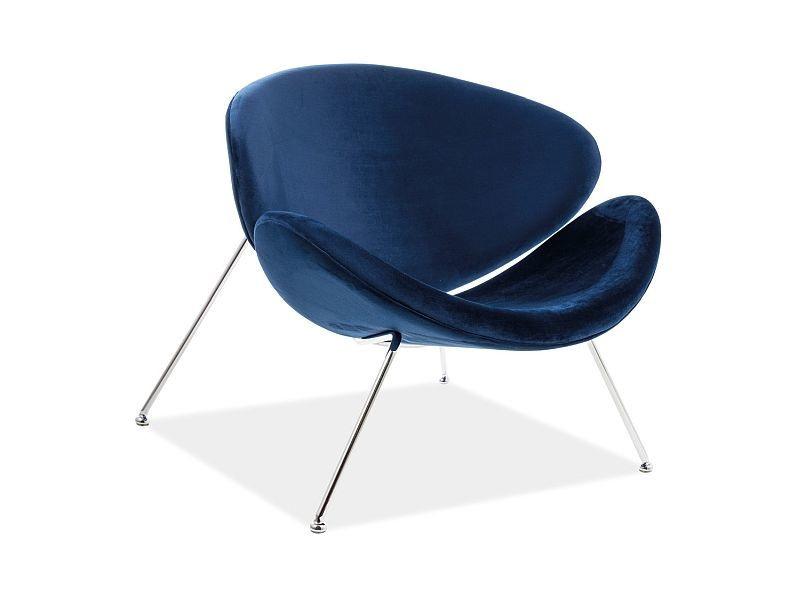 Atzveltnes krēsls Signal Meble Major Velvet Navy/Chrome, 84x49x72 cm
